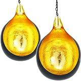 2er SET Orientalisches Windlicht Hängewindlicht Metall Ahreta 16 cm groß | Orientalische Teelichthalter Schwarz von außen und Gold innen | Marokkanische Windlichter hängend als Hängewindlichter