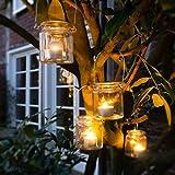 WeddingTree 12 x Windlicht Glas mit Bügel und Dekoband weiß - Teelichtgläser - 9 cm hoch - Einfach Abnehmbarer Metallbügel - Deko für Hochzeit - 2