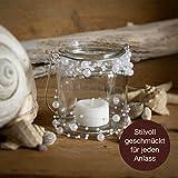 WeddingTree 12 x Windlicht Glas mit Bügel und Dekoband weiß - Teelichtgläser - 9 cm hoch - Einfach Abnehmbarer Metallbügel - Deko für Hochzeit - 5