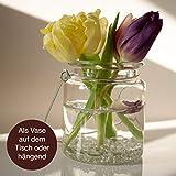 WeddingTree 12 x Windlicht Glas mit Bügel und Dekoband weiß - Teelichtgläser - 9 cm hoch - Einfach Abnehmbarer Metallbügel - Deko für Hochzeit - 6