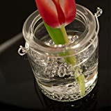 WeddingTree 12 x Windlicht Glas mit Bügel und Dekoband weiß - Teelichtgläser - 9 cm hoch - Einfach Abnehmbarer Metallbügel - Deko für Hochzeit - 7