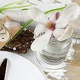 WeddingTree 12 x Windlicht Glas mit Bügel und Dekoband weiß - Teelichtgläser - 9 cm hoch - Einfach Abnehmbarer Metallbügel - Deko für Hochzeit - 8