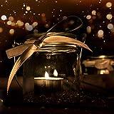 WeddingTree 12 x Windlicht Glas mit Bügel und Dekoband weiß - Teelichtgläser - 9 cm hoch - Einfach Abnehmbarer Metallbügel - Deko für Hochzeit - 9