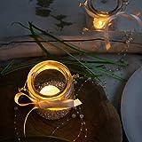 WeddingTree 12 x Windlicht Glas mit Bügel und Dekoband weiß - Teelichtgläser - 9 cm hoch - Einfach Abnehmbarer Metallbügel - Deko für Hochzeit - 10