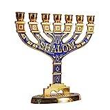 JL Kippha's Gold Jerusalem Kerzenhalter Deko Judaica 7 Zweige Shalom israelische Menora Hanukka, Large 16 * 16cm