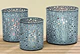 KUHEIGA 3 er Set Windlicht Stele H: 15-19cm grau mit Stern Teelichtglas Laterne Metall