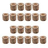 FLAMEER 20 Stück Naturholz Baumstumpf Teelichthalter Kerzenhalter, Höhe 5cm