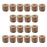 FLAMEER 20 Stück Naturholz Baumstumpf Teelichthalter Kerzenhalter, Höhe 5cm - 8