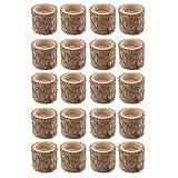 FLAMEER 20 Stück Naturholz Baumstumpf Teelichthalter Kerzenhalter, Höhe 5cm - 9