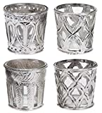 Marzoon Teelichthalter aus Glas und Metall, Antik Landhaus Nostalgie Orient Vintage Look in Silber