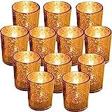 """GUIFIER 12 PCS Mercury Glas Votive Kerze Teelichthalter Glas Quecksilber Kerzenhalter Gesprenkelt Gold Teelicht Kerzenhalter 2,67""""H für Hochzeits-Dekoration, Partys und Home Décor"""