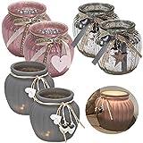 LS Design 2x Windlicht Glas Kugel Teelichthalter Kerzenständer Kerzenhalter Shabby Silber 11,5x10,5cm 2 Stück