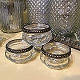 Set von 4 Kürbis Weinlese-Silber Rim Mercury Teelichthalter aus Glas Hochzeit
