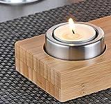 Teelicht-Halter JOLLY für 3 Teelichter  Material: Bambus und Edelstahl Maße: 25 x 8 x 5 cm. Im Geschenkkarton - 3