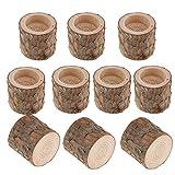 FLAMEER 10 Stück Kerzenständer Kerzenhalter Landhaus Stil Holz Teelichthalter Set