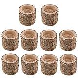 FLAMEER 10 Stück Kerzenständer Kerzenhalter Landhaus Stil Holz Teelichthalter Set - 3