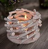 CHICCIE Holz Ast Teelichthalter - 1er mit Herzdeko 17cm Vintage Tischdeko Kerzenhalter Landhausstil Natur Deko