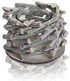 CHICCIE Holz Ast Teelichthalter - 1er mit Herzdeko 17cm Vintage Tischdeko Kerzenhalter Landhausstil Natur Deko - 2