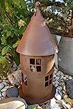 Maison en France Lichterhaus 40 cm groß-Laterne für drinnen und draussen - modernes Windlichtaus Metall mit Edelrost-frostfest