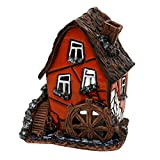 Deko-Geschenke-Shop Keramik Teelichthaus Lichterhaus Teelichthalter Fachwerk Wassermühle 11 cm