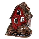 Deko-Geschenke-Shop Keramik Teelichthaus Lichterhaus Teelichthalter Fachwerk Wassermühle 11 cm Rot