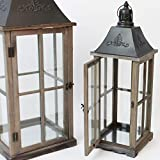2-teiliges Laternen Set im Landhausstil – Antikbraun mit Metalldach und Echtglasscheiben - 4