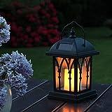 Schwarze Solar Laterne mit LED Beleuchtung - gelb flimmernder Kerzenschein