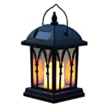 Schwarze Solar Laterne mit LED Beleuchtung – gelb flimmernder Kerzenschein - 4