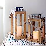 2er Set Holz Laternen mit LED Kerzen & Zeitschaltuhr, Batteriebetrieb