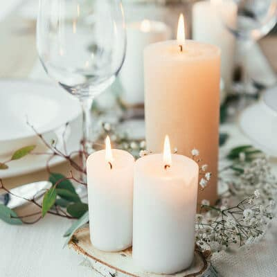 Schöne Hochzeitskerzen im Trio für den schönsten Tag im Leben