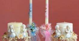 Taufkerzen für Jungen und Mädchen (blau und rosa) mit verschiedenen Motiven