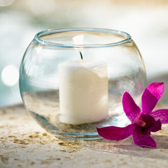 Windlicht-Laterne rund aus Glas zum Schutz der Kerze