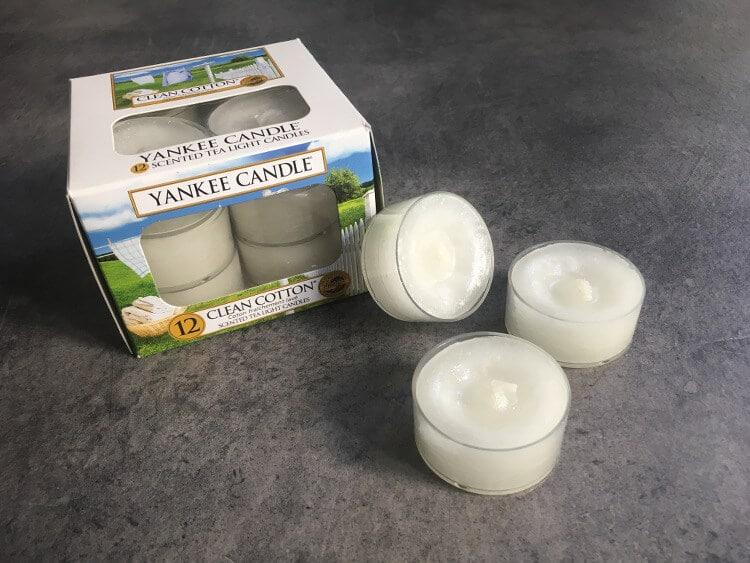 Teelichter von Yankee Candle die nach frisch gewaschener Wäche duften