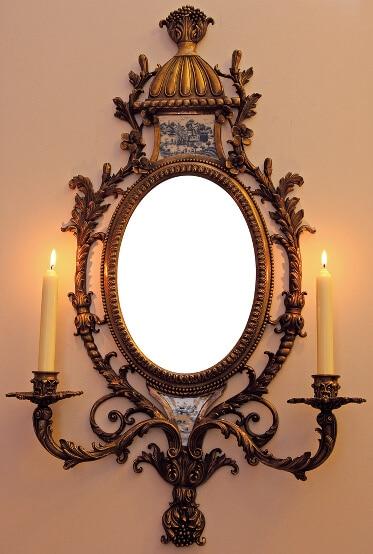Antiker Wandhalter mit Spiegel aus Messing