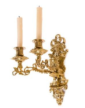 Barocker Kerzenhalter für die Wand aus antikem-goldenen Metall