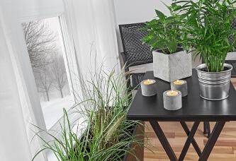 Gartenhalter aus Beton für Kerzenlichter